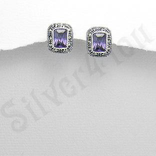Cercei argint mov dreptunghiulari marcasite zirconii - PK2350