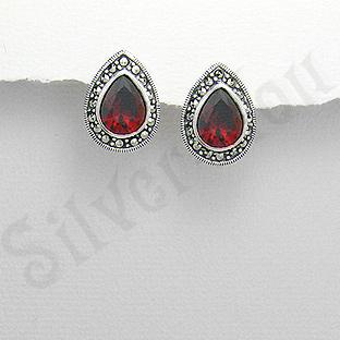 Cercei argint rosii lacrima marcasite zirconii - PK2354