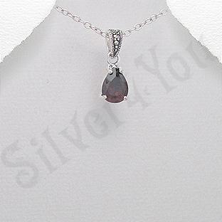 Pandantiv argint rosu lacrima marcasite zirconiu - PK2360