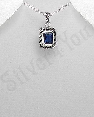 Pandantiv argint albastru dreptunghiular marcasite zirc - PK2361