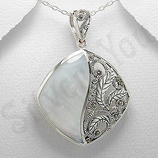 Pandantiv argint sidef alb si marcasit - PK2213