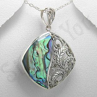 Pandantiv argint abalone si marcasit - PK2212