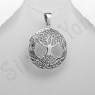 Pandantiv argint copacul vietii medalion mare - PK1984