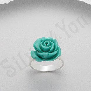 Inel argint trandafir turcoaz - PK1287