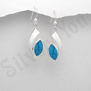 Cercei argint ovali turcuaz albastru - PK1912