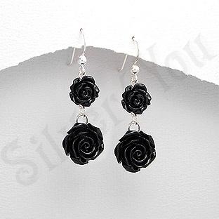 Cercei argint doi trandafiri negri - PK1898