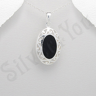 Pandantiv argint oval negru - PK1986
