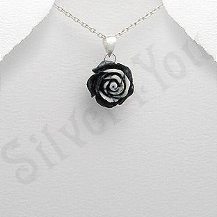 Pandantiv argint trandafir mic negru - PK1989