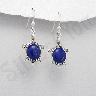 Cercei argint testoase lapis lazuli albastru - PK2420