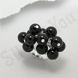 Inel argint cu agate negre - PF8038