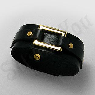 Bratara piele neagra cu portiuni aurite - BF8600