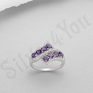 Inel argint cu ametist si zirconii - PK1282