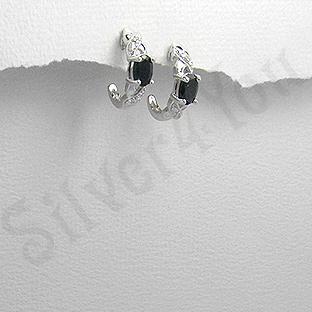 Cercei argint safir negru zircon alb mici - PK1913