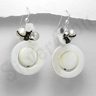 Cercei argint albi cu sidef, perle si cuart - PK1179