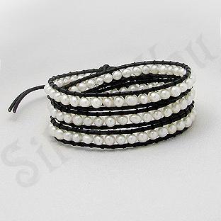 Bratara colier piele neagra perle albe - PK2273