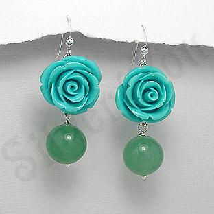 Cercei argint trandafir bleu  si jad verde - PK1927