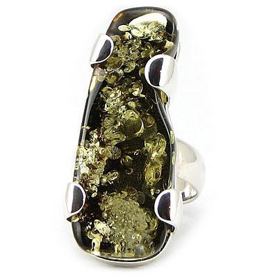 Inel argint cu chihlimbar - UNICAT/17.6 mm - IO309