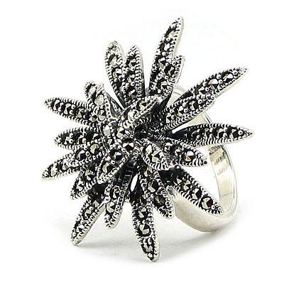Inel marcasit floare din argint - IO243