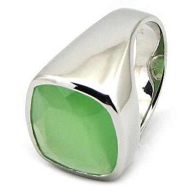 Inel argint si milky verde - IK132
