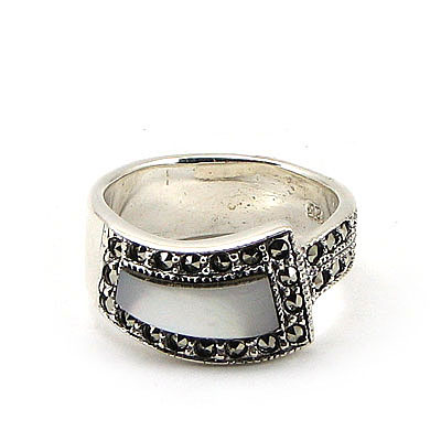 Inel argint cu marcasit si sidef - IS408A
