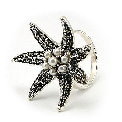 Inel argint cu marcasite si perlute - IS515