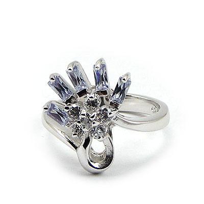 Inel argint rodiat cu zirconiu alb si mov - IZ38