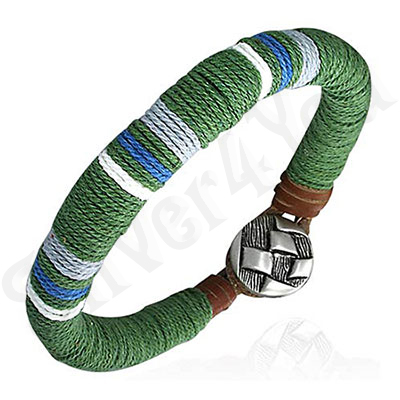 Bratara piele cu siret verde - BM247