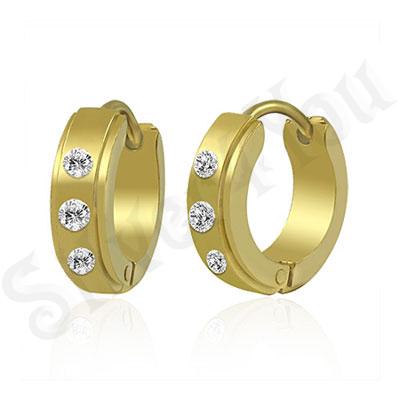 Cercei inox auriti cu zirconi albe - PK1533