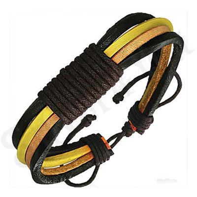Bratara piele sireturi negru galben maro - PK1663