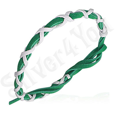 Bratara verde impletita siret alb subtire - PK1659