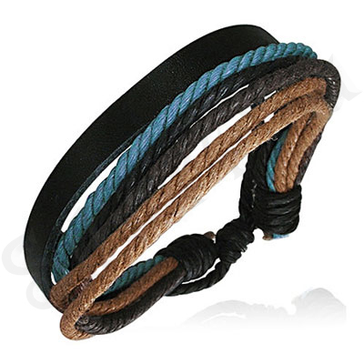 Bratara piele neagra siret albastru negru bej - PK1670