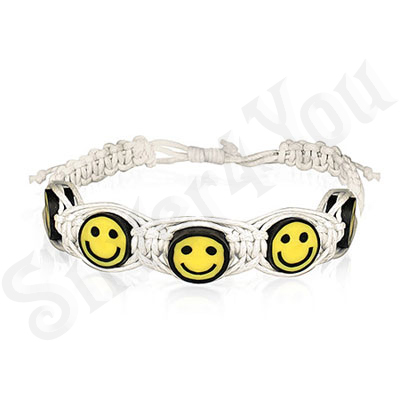 Bratara fantezie smiley alba siret impletit - PK1759