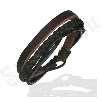 Bratara piele maro si negru - PK1676