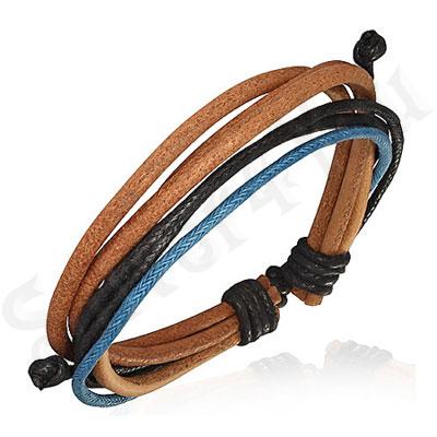 Bratara piele maro siret negru albastru - PK1726