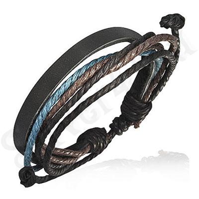 Bratara piele neagra siret maro negru bleu - PK1734