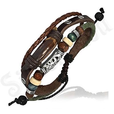 Bratara piele maro siret verde margele - PK1743