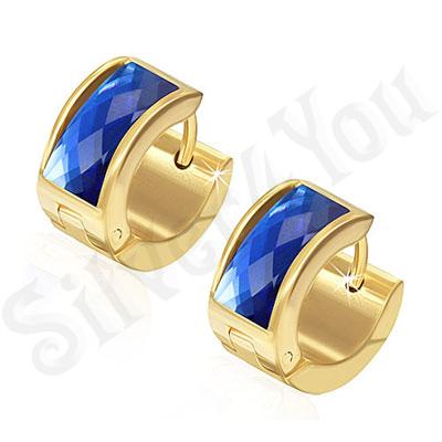 Cercei inox auriti rotunzi cu piatra albastra - PK1778
