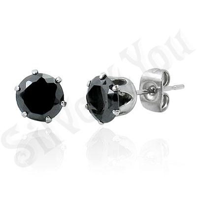 Cercei inox mici rotunzi zircon negru multifatetat/8 mm - PK2103