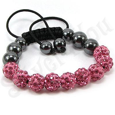 Bratara shamballa cristale roz - BR6000