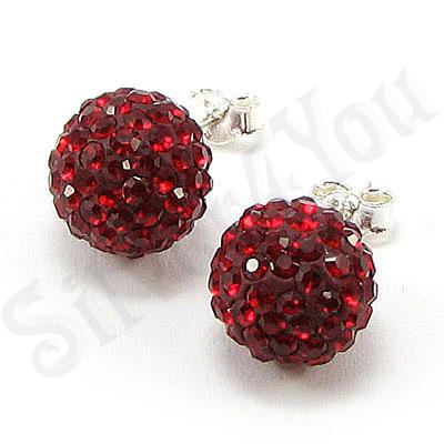 Cercei argint cu cristale rosii/1 cm - CR10