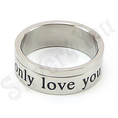 Set inele inox cu mesaj ''only love you'' - BR6020