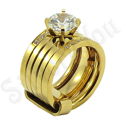 Set inele inox aurit si zirconii albe - BR6026