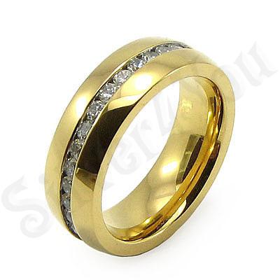 Inel inox aurit cu zirconii albe - BR6055