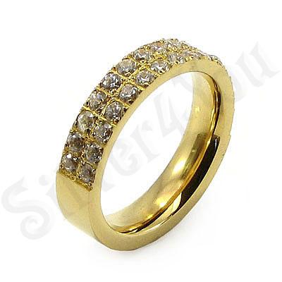 Inel inox aurit cu zirconii albe - BR6054