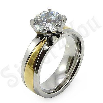 Inel inox aurit cu zircon alb - BR6061