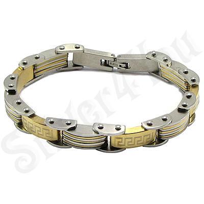Bratara inox cu portiuni aurite - BR6100