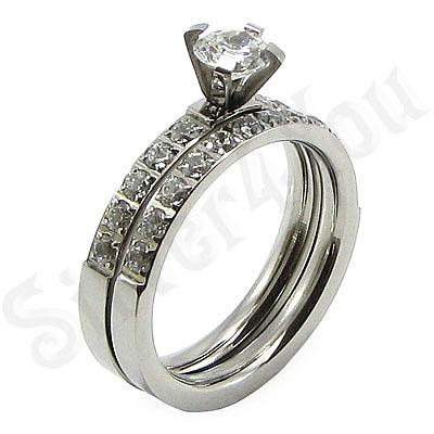 Set inele logodna din inox cu zirconii albe - BR6105