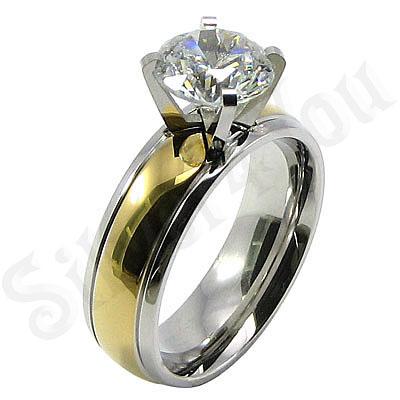 Inel inox aurit dama cu zircon alb - BR6124