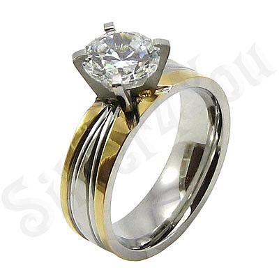 Inel inox aurit cu zircon alb - BR6142