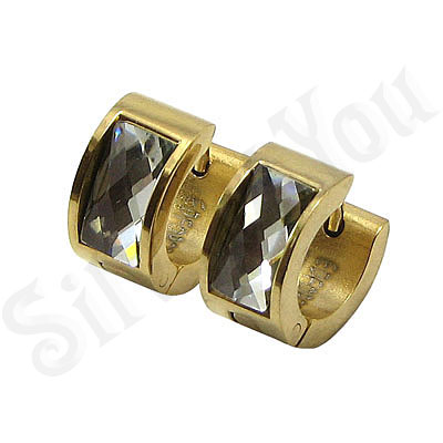 Cercei inox aurit si zircon alb - BR6148